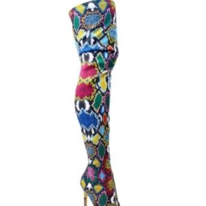 THIGH HIGH  MULTICOLORED BOOTS-NEW WITH TAGS
